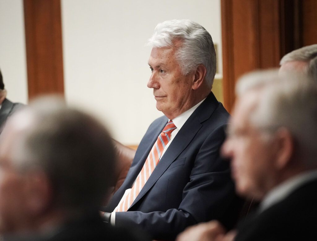 Elder Dieter F. Uchtdorf attends the Quorum of the Twelve Apostles' weekly meeting at the Church Administration Building in Salt Lake City on Tuesday, May 11, 2021.
