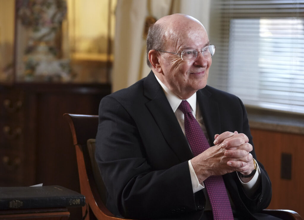 Elder Quentin L. Cook of the Quorum of the Twelve Apostles is interviewed at the Relief Society Building in Salt Lake City on Friday, March 19, 2021.