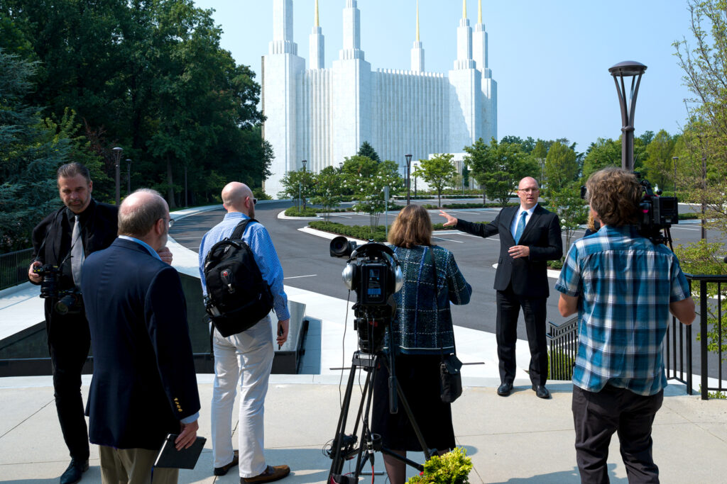 Dan Holt, project manager for the Washington D.C. Temple renovation project begins a tour of the gardens to the media after the news conference at the Washington D.C. Temple Visitors' Center on July 20, 2021.