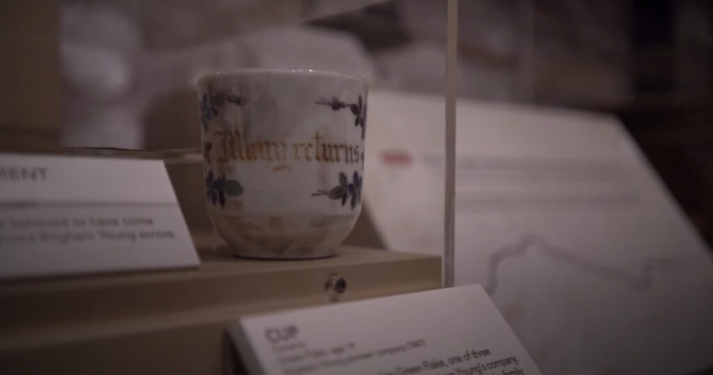 This cup was once owned by Green Flake and is part of the Mormon Trails: Pioneer Pathways to Zion exhibit at the Church History Museum.
