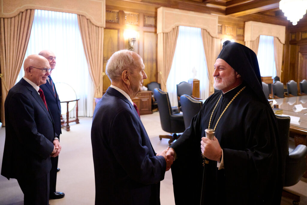 President Russell M. Nelson greets His Eminence Archbishop Elpidophoros of the Greek Orthodox Archdiocese of America on July 22, 2021.