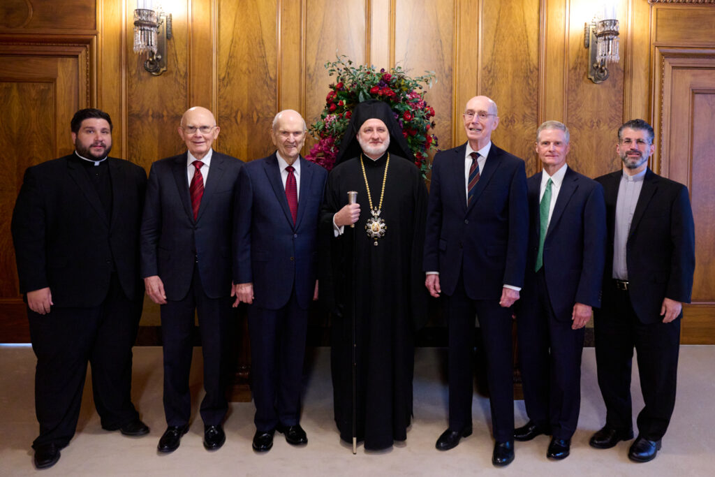 From left to right: The Rev. Archdeacon Dionysios Papiris; President Dallin H. Oaks; President Russell M. Nelson; His Eminence Archbishop Elpidophoros; President Henry B. Eyring; Elder David A. Bednar; and Very Rev. Archimandrite George Nikas. The photo was taken on July 22, 2021, in the Church Administration Building.