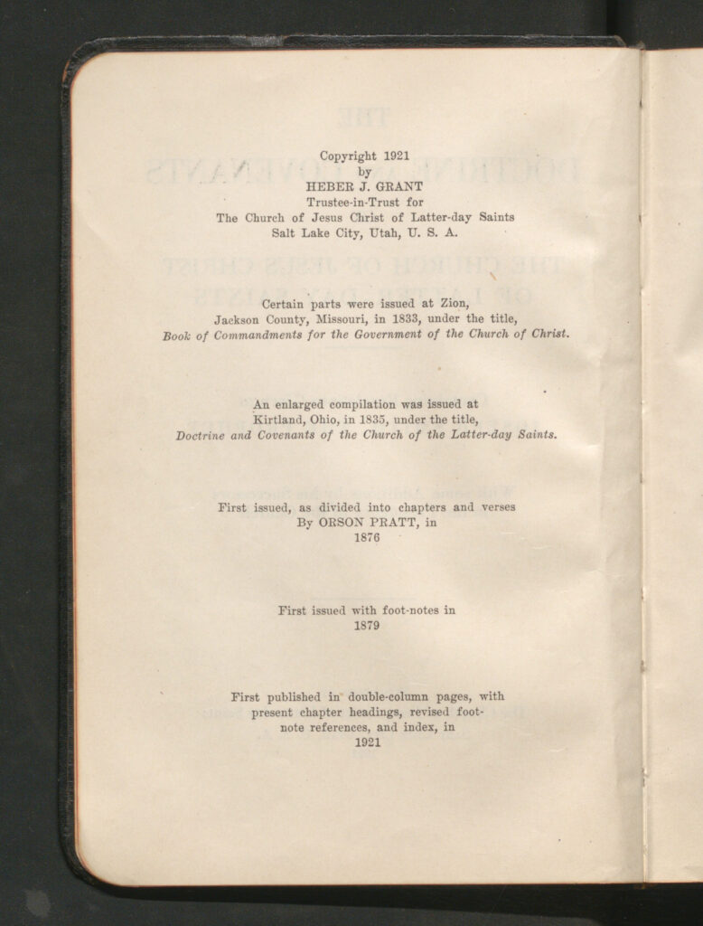 The copyright page in the 1921 edition of the Doctrine and Covenants.