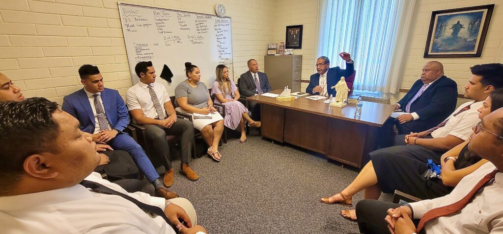 Bishop Paula F. Ika leads a ward council discussion in the Provo YSA 221st Ward (Tongan) on Sunday, June 13, 2021, in an Orem, Utah, meetinghouse.
