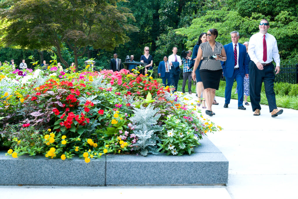 News conference attendees were invited to tour the newly renovated gardens at the Washington D.C. Temple in Washington D.C. on July 20, 2021.