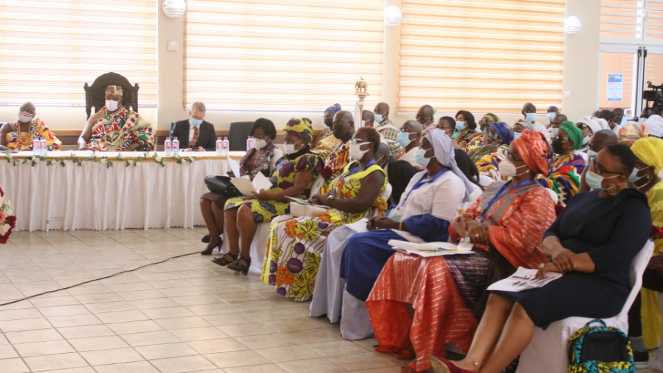 People gather for Strengthening Families Conference at the Accra Ghana Christiansborg Stake Center in Accra, Ghana.