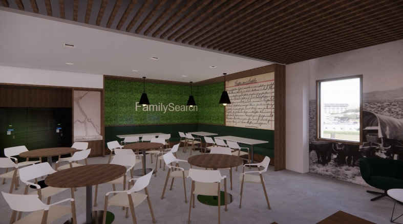 A rendering of the expanded guest break room located on the main floor of the Family History Library in Salt Lake City. It is expected to be done in mid-August.