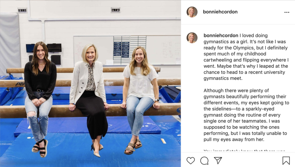 President Bonnie H. Cordon shared her recent experience attending a gymnastics meet on social media on June 30, 2021.