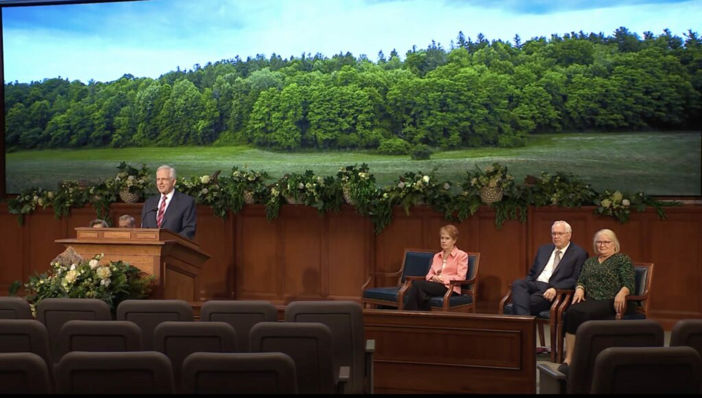 Elder D. Todd Christofferson of the Quorum of the Twelve Apostles speaks during the Hill Cumorah Pageant Commemorative Devotional broadcast on July 9, 2021.