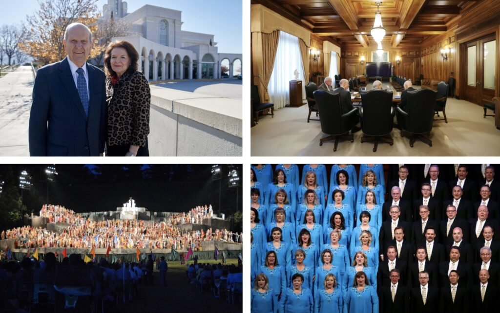 Clockwise from top left: President Russell M. Nelson and his wife, Sister Wendy W. Nelson, pose in front of the Bountiful Utah Temple; President Russell M. Nelson, President Dallin H. Oaks and President Henry B. Eyring attend a First Presidency meeting; the Tabernacle Choir at Temple Square performs during the Pioneer Day concert at the Conference Center; and an early scene from the Hill Cumorah Pageant.