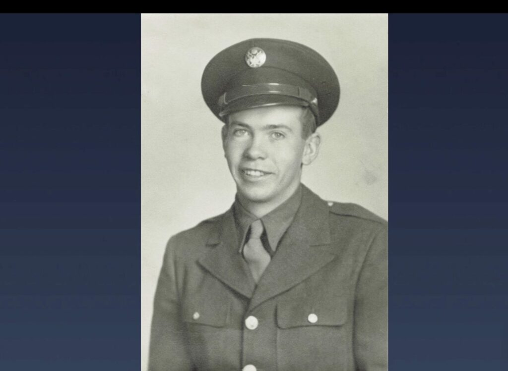 Young Men General President Steven J. Lund shares a photo of Virgil Spade, a Latter-day Saint who served as a tailgunner during World War II, during the broadcast of BYU–Idaho's spring commencement on Wednesday, July 21, 2021.