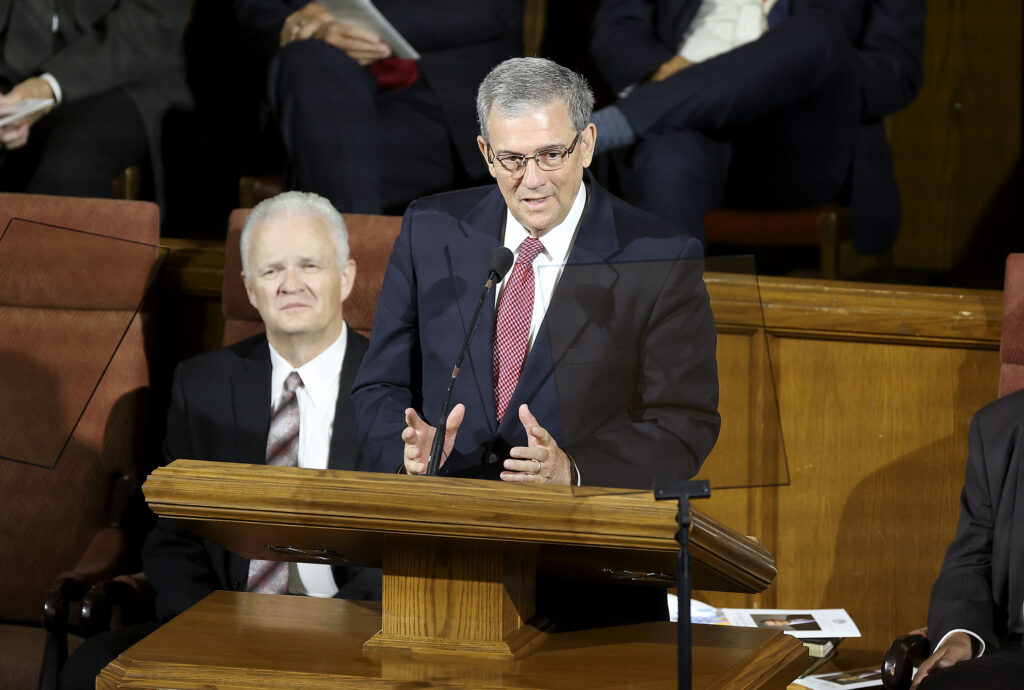 Elder David F. Evans, a General Authority Seventyof The Church of Jesus Christ of Latter-day Saints, speaks during the Days of '47 Sunrise Service at the Assembly Hall on Temple Square in Salt Lake City on Friday, July 23, 2021.