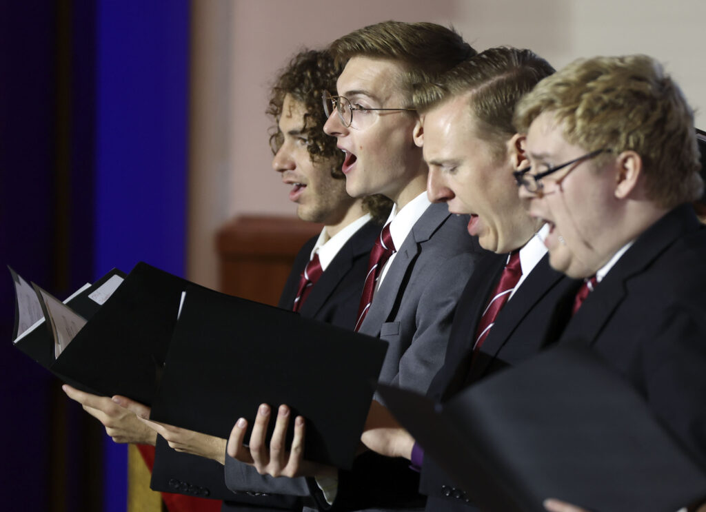 The Salt Lake Valley Combined Institute Choir sings during the Days of '47 Sunrise Service at the Assembly Hall on Temple Square in Salt Lake City on Friday, July 23, 2021.
