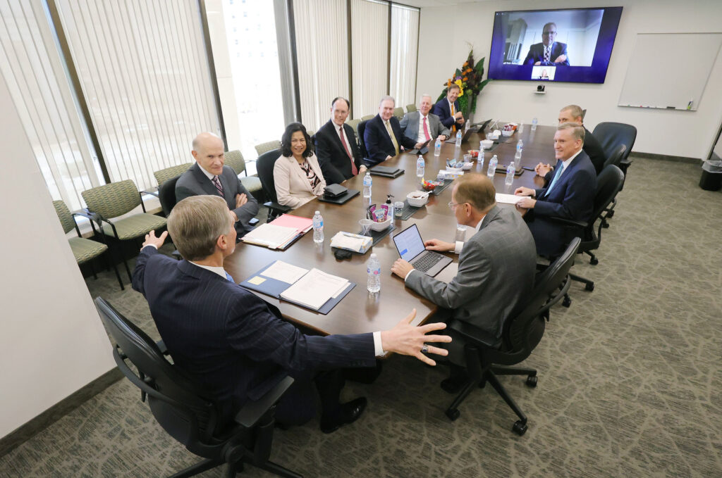 Elder David A. Bednar of the Quorum of the Twelve Apostles leads a Temple and Family History Executive Council meeting at the Church Office Building in Salt Lake City on Wednesday, June 2, 2021.