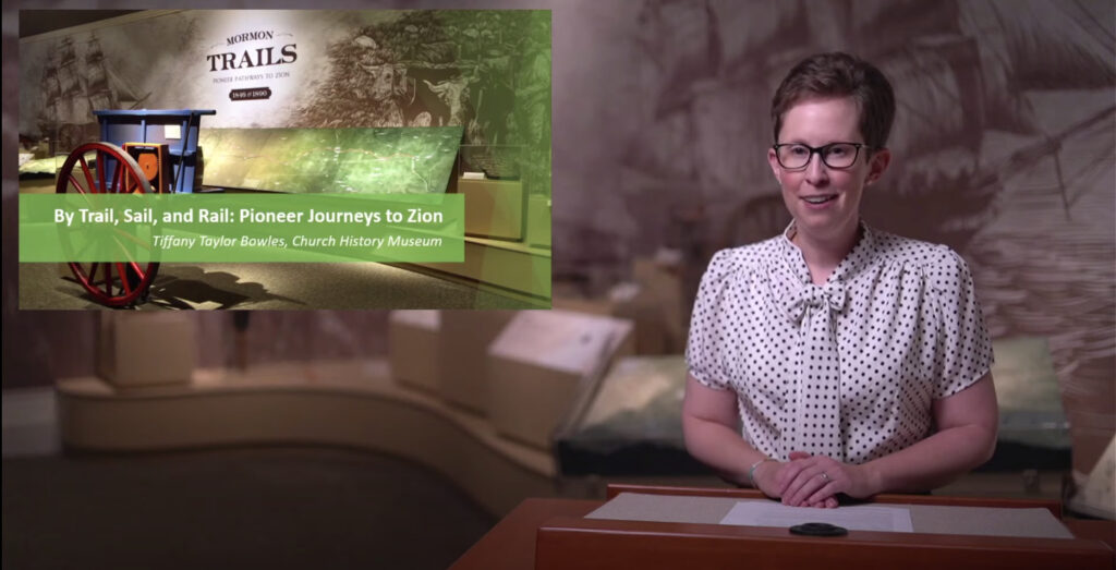 """Tiffany Taylor Bowles presented """"By Trail, Sail and Rail: Pioneer Journeys to Zion"""" on Thursday, July 22, 2021, as part of the Church History Museum's Evenings from the Museum series."""