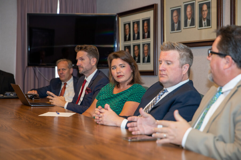 Members of the Santa Margarita Ward council of the Rancho Santa Margarita California Stake listen as one ward leader voices his thoughts during a meeting on Sunday, June 27, 2021.