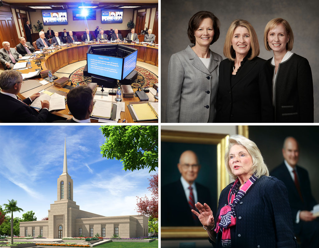 Clockwise from top left, the Quorum of the Twelve Apostles of The Church of Jesus Christ of Latter-day Saints gather for their weekly meeting at the Church Administration Building in Salt Lake City on May 11, 2021; the Primary general presidency are President Camille N. Johnson, center; Sister Susan H. Porter, first counselor, left; and Sister Amy Wright, second counselor; Sister Sheri Dew speaks at a BYU–Pathway Worldwide Devotional; the artist rendering of the Nairobi Kenya Temple.