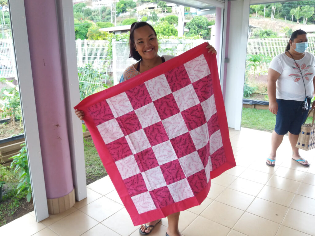 A baby blanket sewn by the Relief Society sisters in the Erima Ward in French Polynesia to be given to new mothers.
