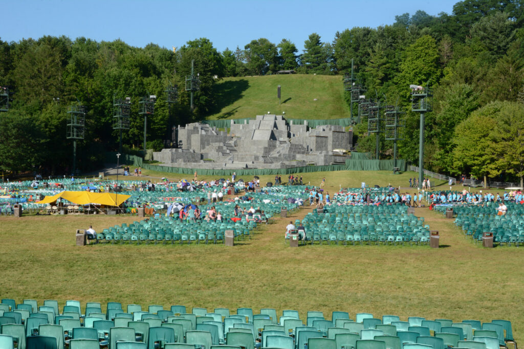 View of the hill on a performance day from the back of the seating area.