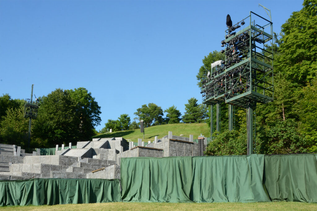 View of the 10-level stage and lighting towers at the Hill Cumorah Pageant.