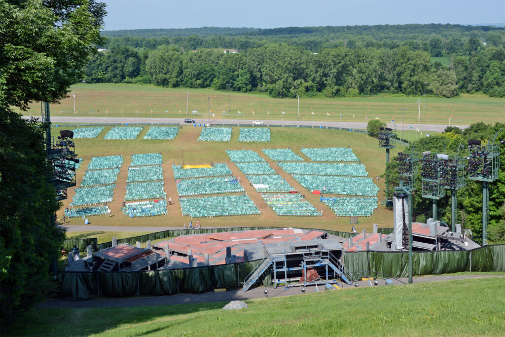 View of the staging and seating areas from the top of the Hill Cumorah.