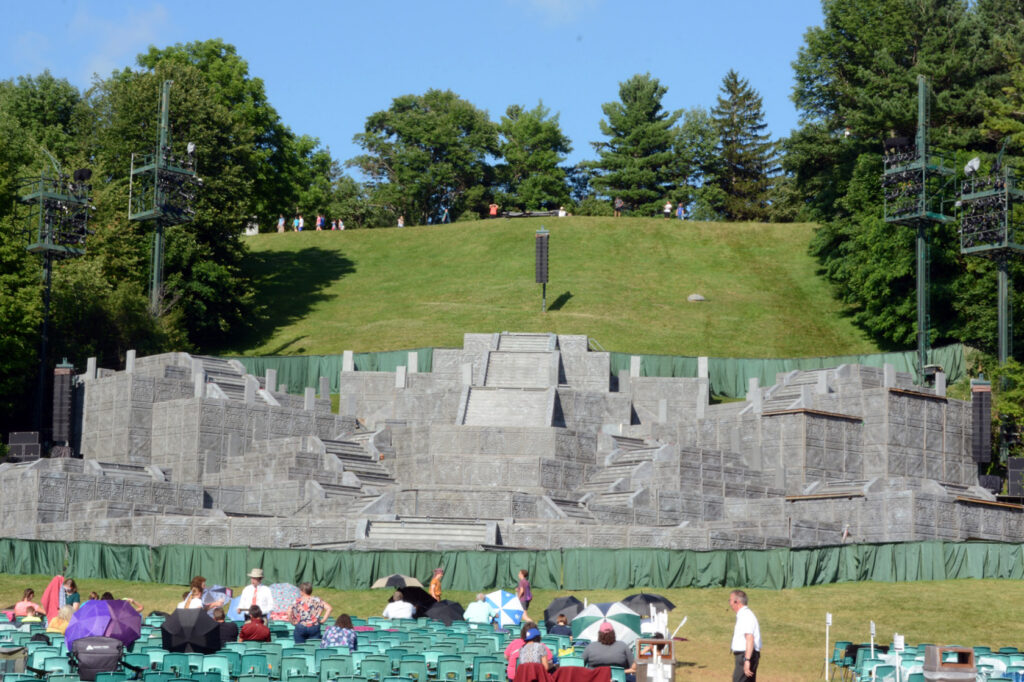 View of the staging area before an evening performance of the Hill Cumorah Pageant.