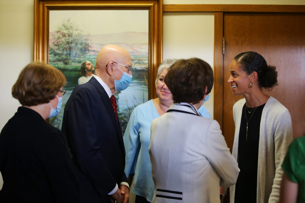 President Dallin H. Oaks, first counselor in the First Presidency of The Church of Jesus Christ of Latter-day Saints, center left, and his wife Sister Kristen M. Oaks greet attendees of the Abundant Life Conference, a weekend long event for single members of the Church, Saturday, August 7, 2021, at the Tacoma North Stake Center. The conference, which was held for adult Church members in the North America West Area, included workshops, a service project, a concert, and various speakers.