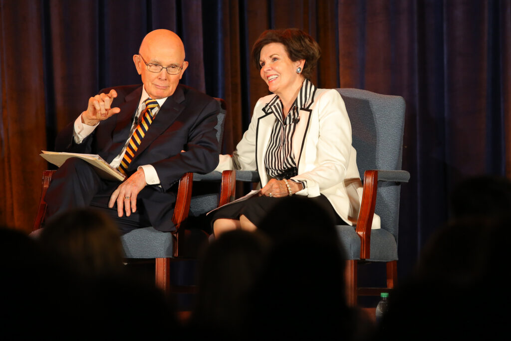 President Dallin H. Oaks, first counselor in the First Presidency of The Church of Jesus Christ of Latter-day Saints and his wife, Sister Kristen M. Oaks, speak to a crowd of young singles during the Abundant Life Conference, Sunday, August 8, 2021, at the Bellevue South Stake Center. The weekend-long conference, which was held for single adult Church members in the North America West Area, included workshops, a service project, a concert, and various speakers.