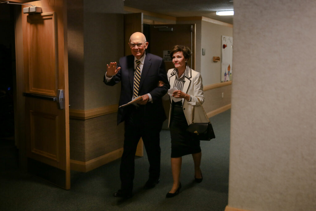 President Dallin H. Oaks, first counselor in the First Presidency of The Church of Jesus Christ of Latter-day Saints and his wife, Sister Kristen M. Oaks, wave as they depart after speaking to crowd of young singles during the Abundant Life Conference, Sunday, August 8, 2021, at the Bellevue South Stake Center. The weekend-long conference, which was held for single adult Church members in the North America West Area, included workshops, a service project, a concert, and various speakers.