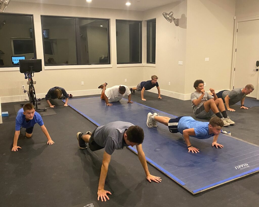 Young men from the Hamilton Pool Ward, Austin Texas West Stake, train together in preparation for a 2021 Spartan race. They participated in the race as a physical fitness goal in connection with the Church's Children and Youth program.