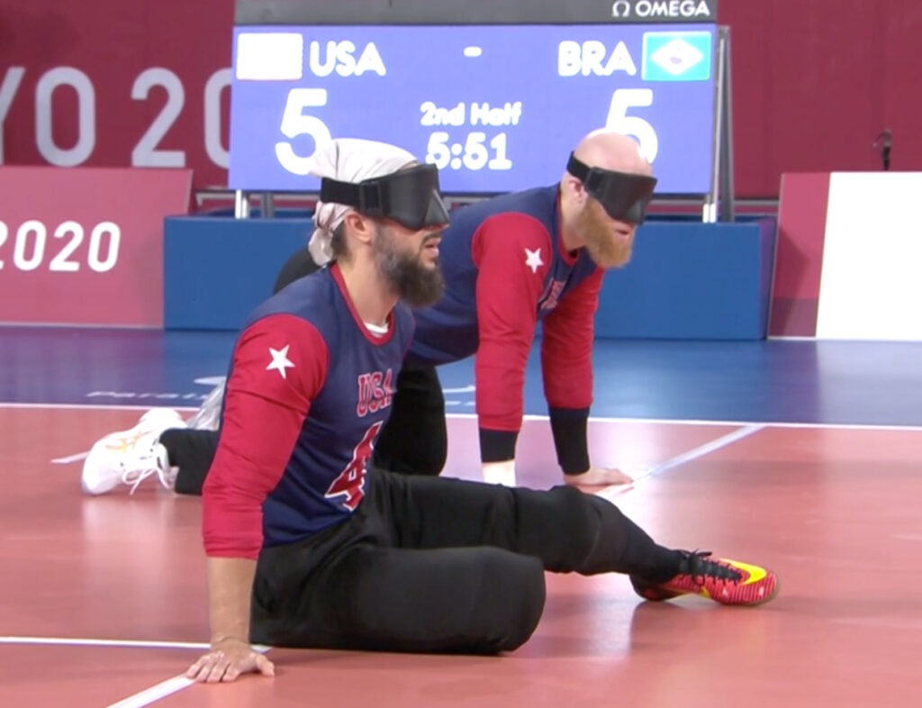 Daryl Walker, back, during a goalball match against Brazil on Thursday, Aug. 26, 2021, at the Tokyo Paralympic Games.