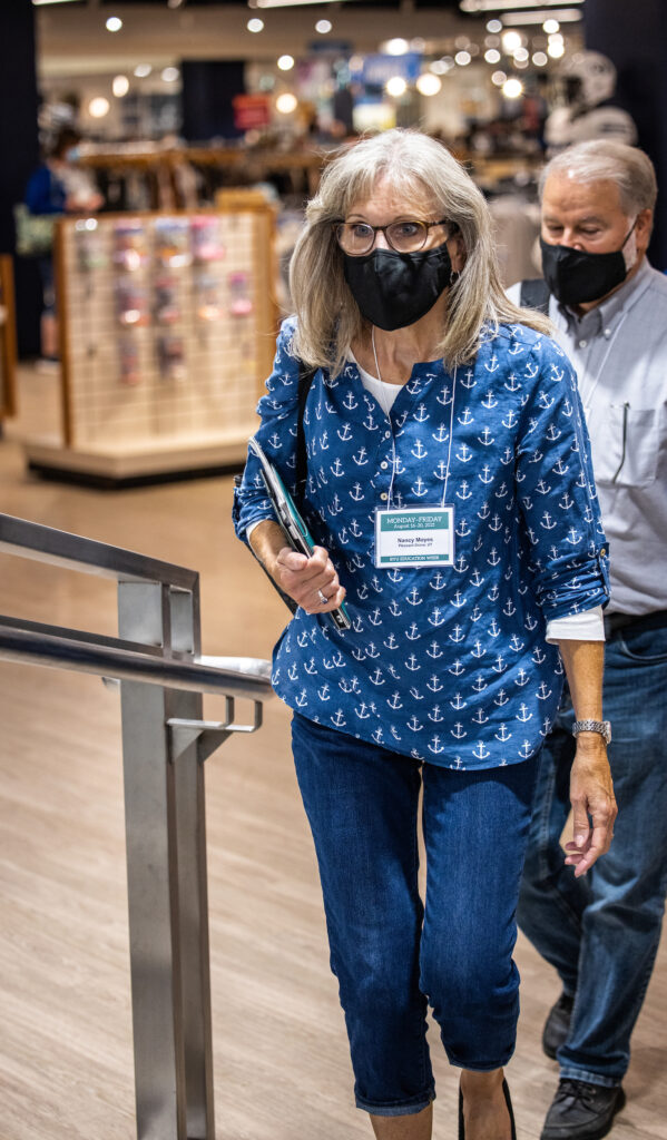 BYU Education Week attendees walk through the BYU Store on Aug. 17, 2021.