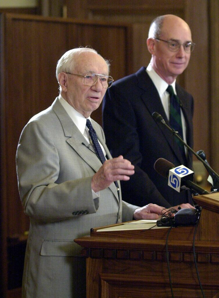 President Gordon B. Hinckley and Elder Henry B. Eyring, then Church commissioner of eduction, in June 2000 announce changes to Ricks College.