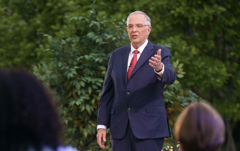 Elder Neil L. Andersen of the Quorum of the Twelve Apostles speaks during the filming of a Face to Face event for single adults age 31 and older on the Logan Utah Temple grounds in Logan on Monday, June 7, 2021.