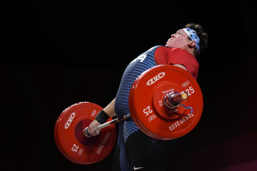 Sarah Elizabeth Robles of the United States competes in the women's over-87-kilogram weightlifting event at the 2020 Summer Olympics, Monday, Aug. 2, 2021, in Tokyo, Japan. (AP Photo/Seth Wenig)