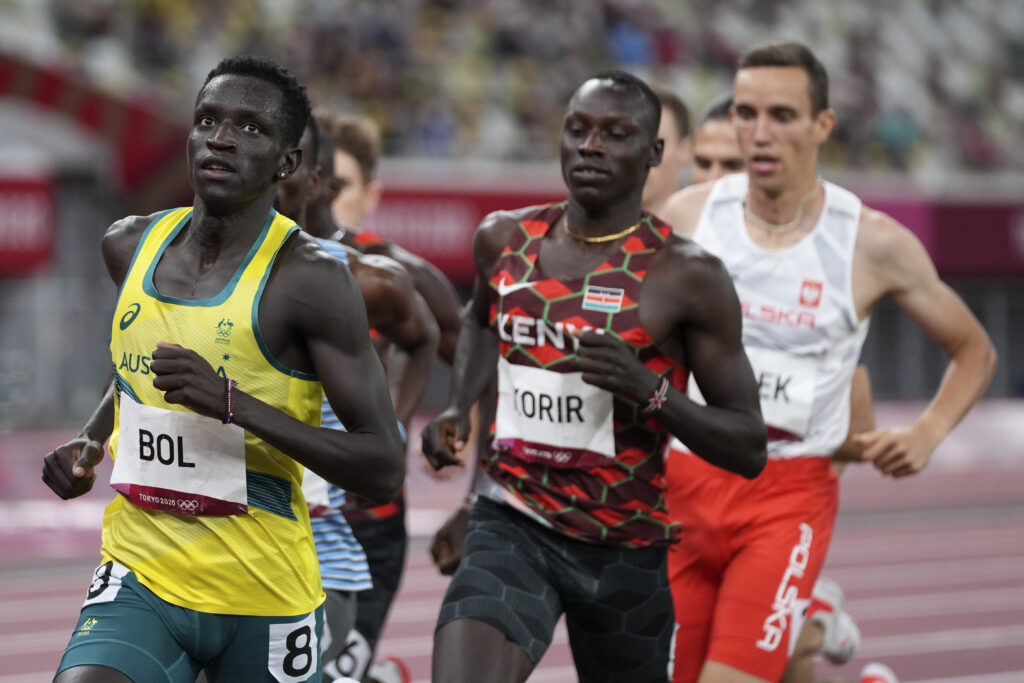 Peter Bol, of Australia, competes in the final of the men's 800-meters at the 2020 Summer Olympics, Wednesday, Aug. 4, 2021, in Tokyo.