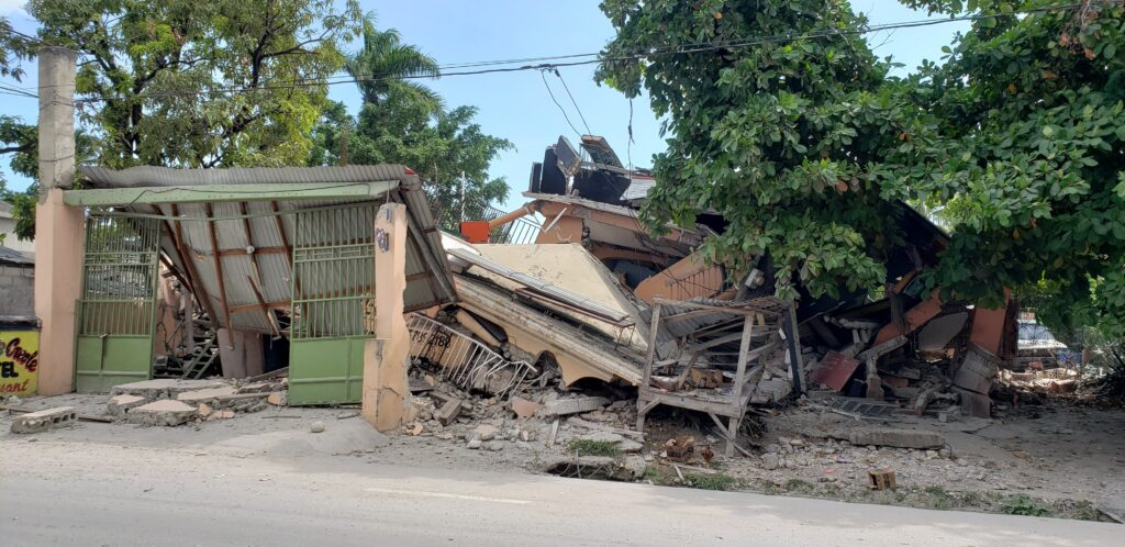 The Cayimite Hotel is damaged after an earthquake in Les Cayes, Haiti, Saturday, Aug. 14, 2021.