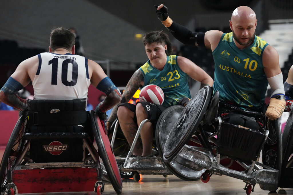Australia's Jayden Warn (23) competes during a semifinal wheelchair rugby match against the United States at the Tokyo 2020 Paralympic Games, Saturday, Aug. 28, 2021, in Tokyo, Japan.