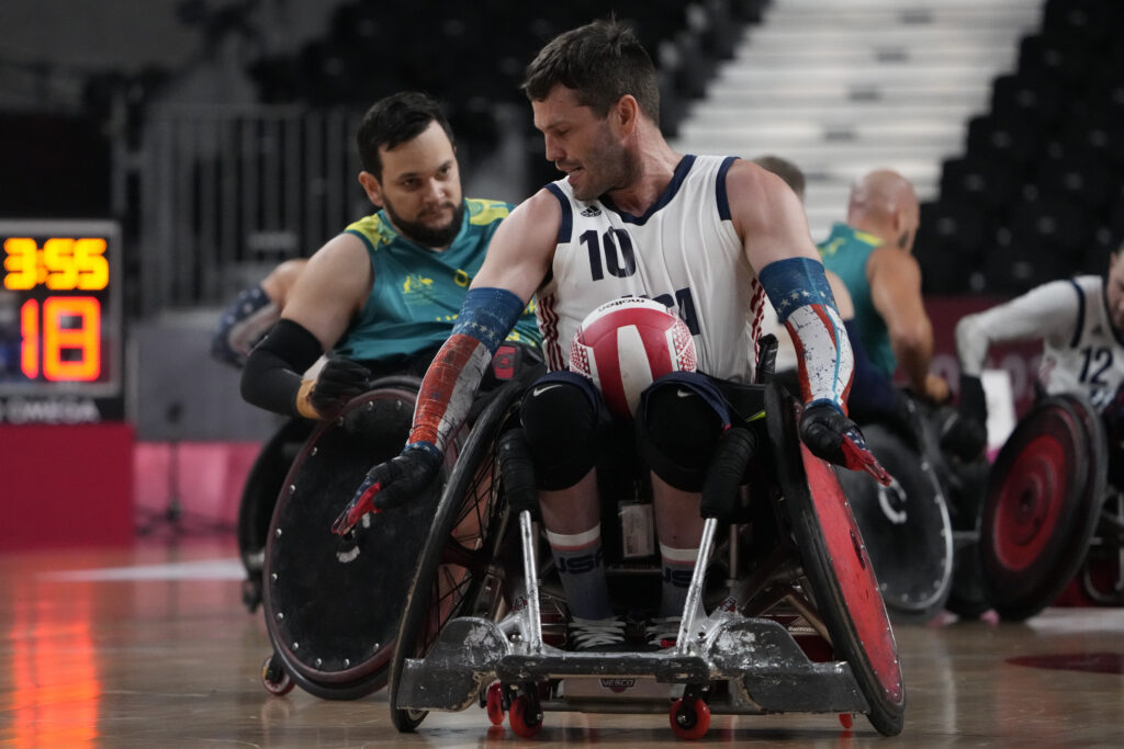 United States' Josh Wheeler competes during a semifinal wheelchair rugby match against Australia at the Tokyo 2020 Paralympic Games, Saturday, Aug. 28, 2021, in Tokyo, Japan.