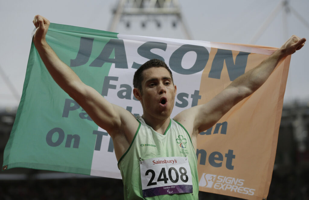 Ireland's Jason Smyth celebrates after winning the men's 100-meter T13 final race at the 2012 Paralympics in London, Saturday, Sept. 1, 2012.