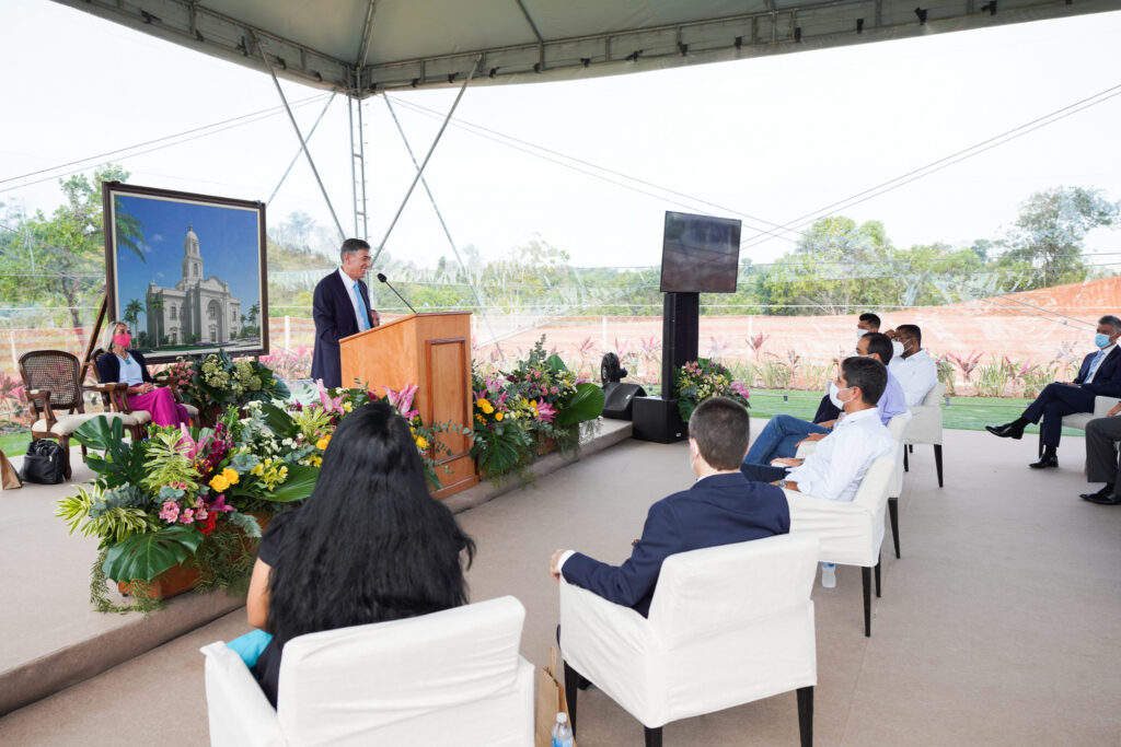 Elder Adilson de Paula Parrella, president of the Brazil Area, speaks to invited guests during the Salvador Brazil Temple groundbreaking service in Salvador, Brazil, on Saturday, Aug. 7, 2021.