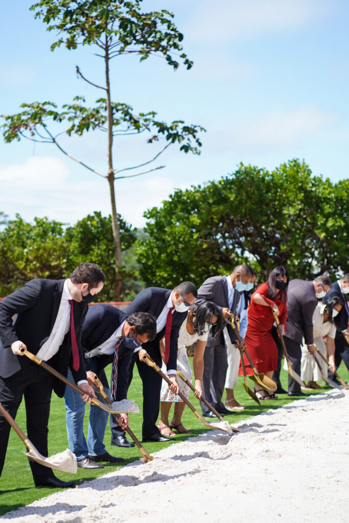 Latter-day Saint leaders from Salvador participate in the groundbreaking of the Salvador Brazil Temple on Saturday, Aug. 7, 2021.