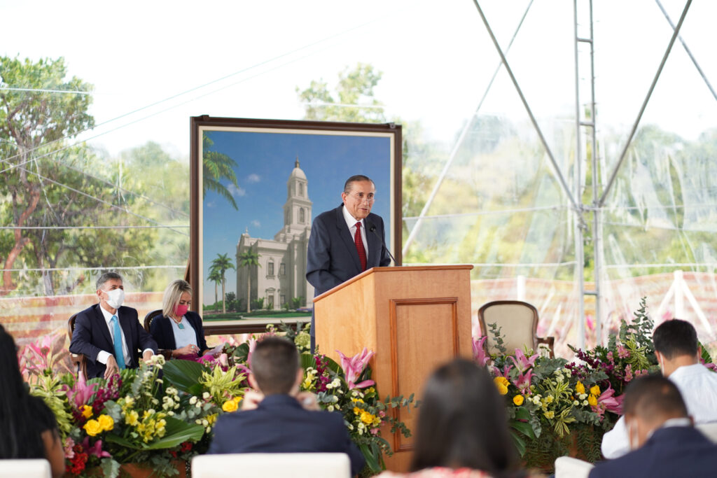 Elder Juan A. Uceda, second counselor in the Brazil Area presidency, shares a message with invited guests during the Salvador Brazil Temple groundbreaking service in Salvador, Brazil, on Saturday, Aug.7, 2021.