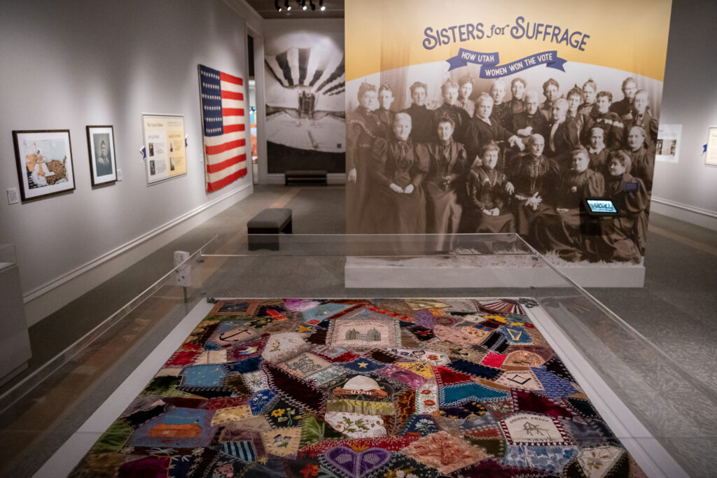 A quilt made by Emma Green Bull for the 1893 World's Fair is featured in the Sisters for Suffrage exhibit at the Church History Museum in Salt Lake City on Monday, Aug. 2, 2021. The museum reopened to the public Monday after an extended closure due to COVID-19.