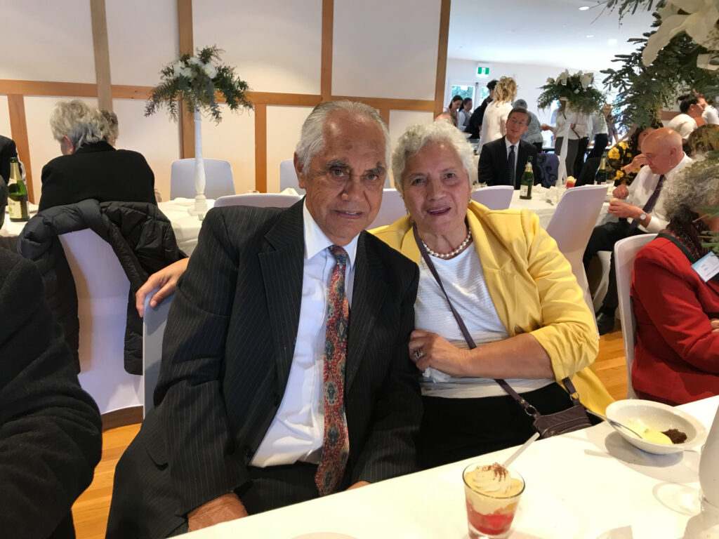 Labour missionary George Chase and his wife attended the opening of the new exhibit about the building of Temple View at the Matthew Cowley Pacific Church History Center near Hamilton, New Zealand