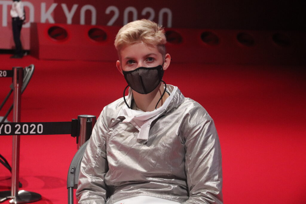 Shelby Jensen, of Salt Lake City, waits while competing in wheelchair fencing at the Paralympic Games in Tokyo.