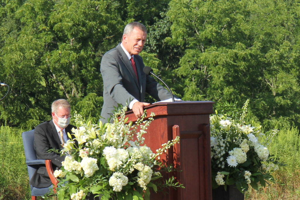 Elder Randall K. Bennett, a General Authority Seventy, speaks during the groundbreaking ceremony for the Pittsburgh Pennsylvania Temple on Saturday, Aug. 21, 2021.