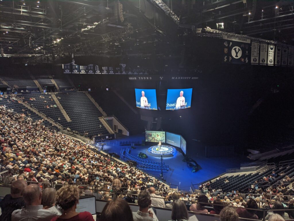 S. Michael Wilcox presents during BYU Education Week in the Marriott Center at Brigham Young University in Provo, Utah, on Tuesday, Aug. 17, 2021.