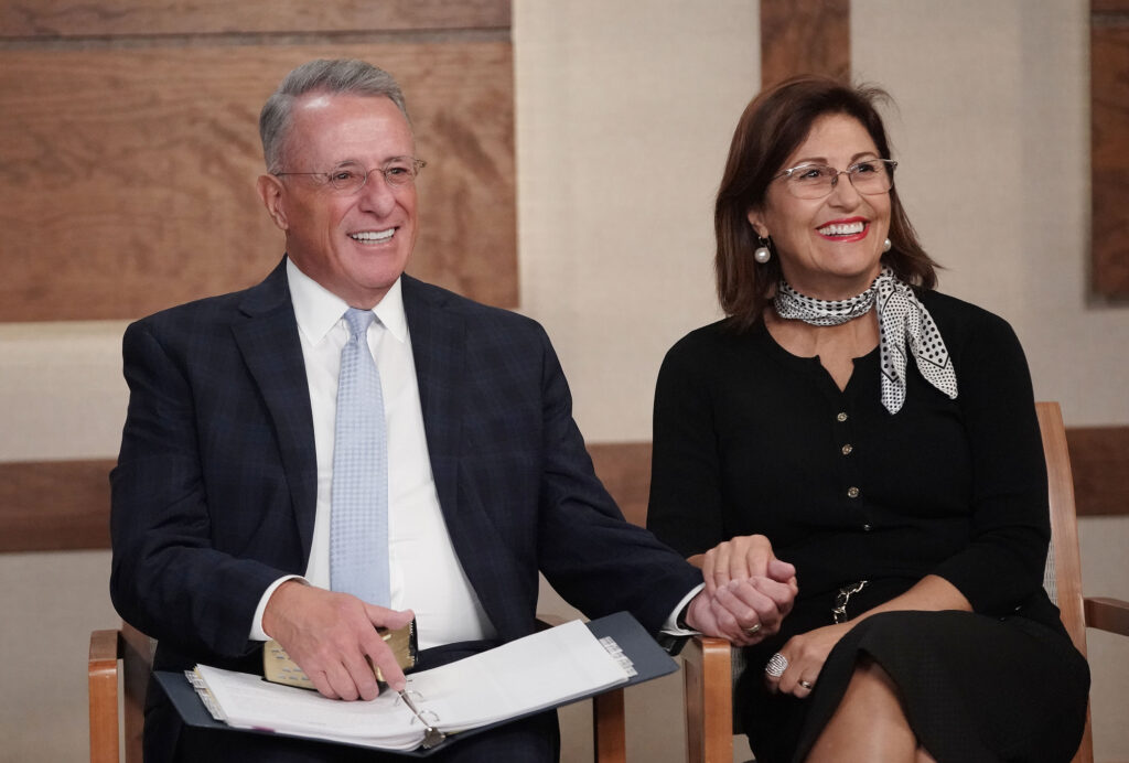 Elder Ulisses Soares of the Quorum of the Twelve Apostles and his wife, Sister Rosana Fernandes Soares, participate during a Caribbean Area French-language member devotional broadcast from the Church Office Building in Salt Lake City on Saturday, Aug. 21, 2021.