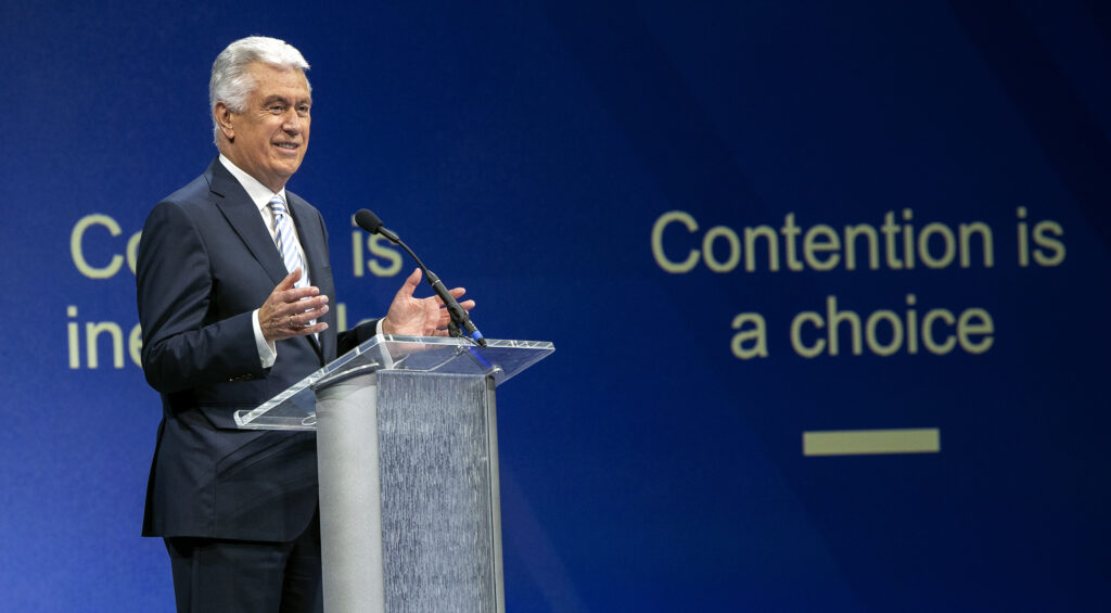 Elder Dieter F. Uchtdorf of the Quorum of the Twelve Apostles, of The Church of Jesus Christ of Latter-day Saints, delivers the keynote address at BYU Education Week in the Marriott Center on Tuesday, Aug. 17, 2021.